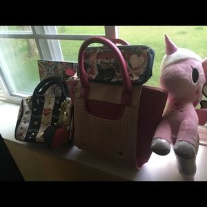 Charming Charlie Bags - Small Pink Purse w lattice pouch W strap